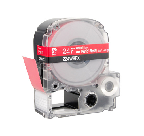 """Epson 224WRPX 1"""" Red Glossy Polyester Label PX Tape"""
