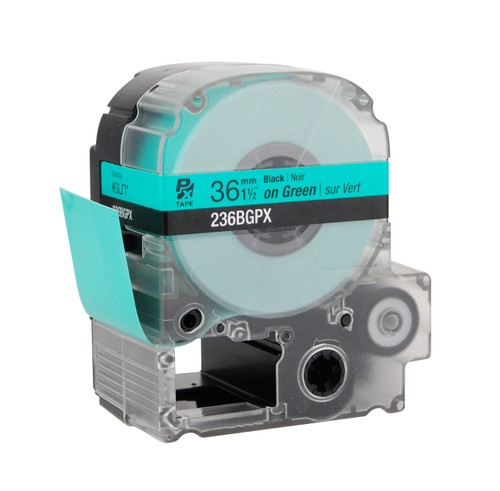 """Epson 236BGPX 1 1/2"""" Green Glossy Polyester Label PX Tape"""