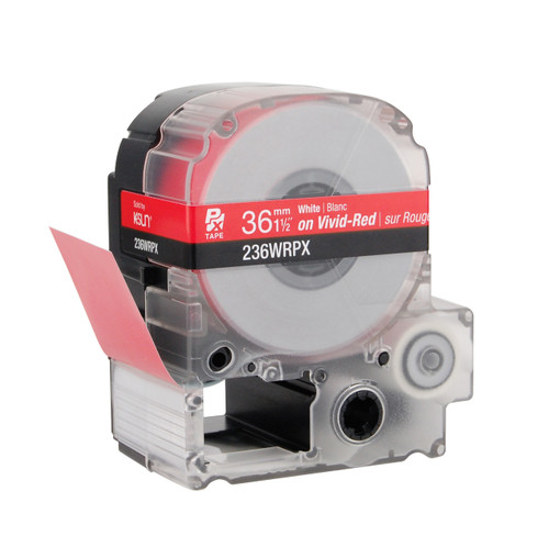"""Epson 236WRPX 1 1/2"""" Red Glossy Polyester Label PX Tape"""