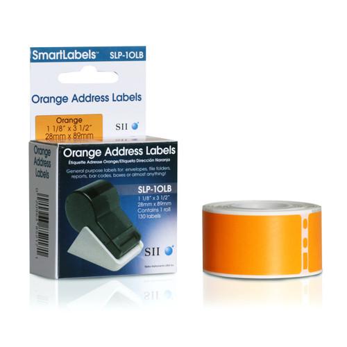 Seiko SLP620/650 1.125 x 3.5 Orange Address Inkjet Labels SLP-1OLB