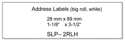"Seiko 1-1/8"" x 3-1/2"" Large Roll Address Inkjet Labels [2 Pack] SLP-2RLH"