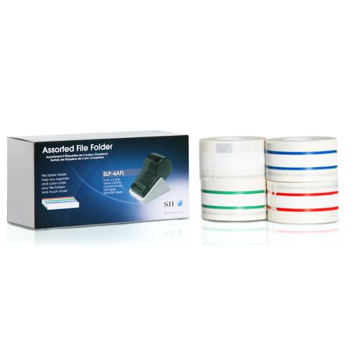 Seiko SLP620/650 0.5625 x 3.4375 White File Folder Inkjet Labels SLP-4AFL