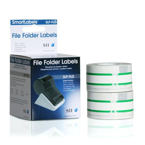 Seiko SLP620/650 0.5625 x 3.4375 White File Folder Inkjet Labels SLP-FLG
