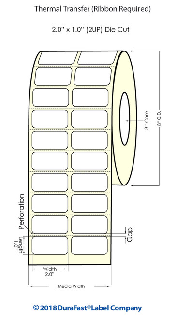"""Thermal Transfer White 2"""" x 1"""" (2UP) 10200 Labels/Roll Sold by DuraFast Label Company"""