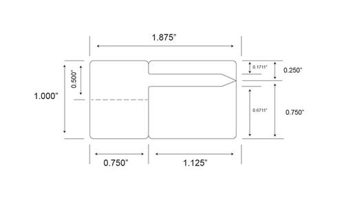 "Thermal Transfer 1.875"" x 1"" BOPP Jewellery Labels 1000/Roll - 1"" Core | 4"" OD"