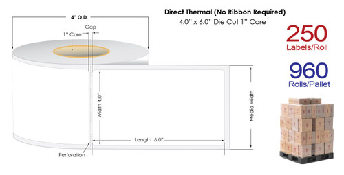 "Direct Thermal 4"" x 6"" Matte Paper Labels 250/Roll -1"" Core 