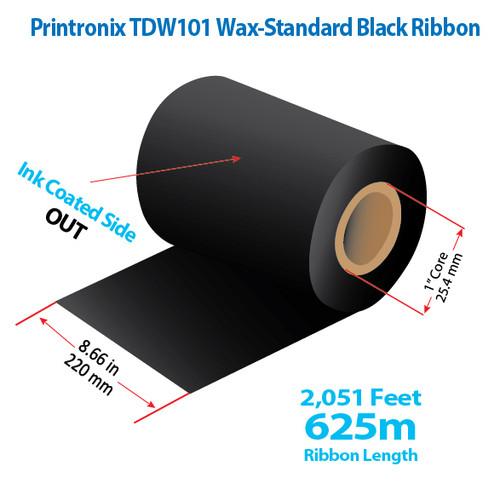 "Printronix  8.66"" x 2051 feet TDW101 Wax-Standard Ribbon with Ink OUT | 12/Ctn"