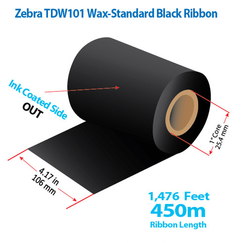 "Zebra 4.5"" x 984 feet TDW101 Wax-Standard Ribbon with Ink OUT | 24/Ctn"