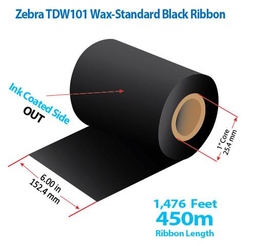 "Zebra 6"" x 1476 feet TDW101 Wax-Standard Ribbon with Ink OUT | 12/Ctn"