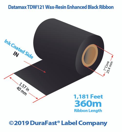 "Datamax 1.57"" x 1181 feet TDW121 Wax-Resin Enhanced Ribbon with Ink IN | 48/Ctn"