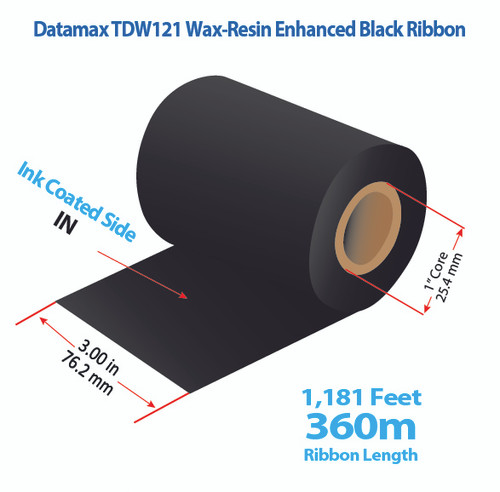 "Datamax 3"" x 1181 feet TDW121 Wax-Resin Enhanced Ribbon with Ink IN 