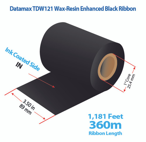 "Datamax 3.5"" x 1181 feet TDW121 Wax-Resin Enhanced Ribbon with Ink IN 