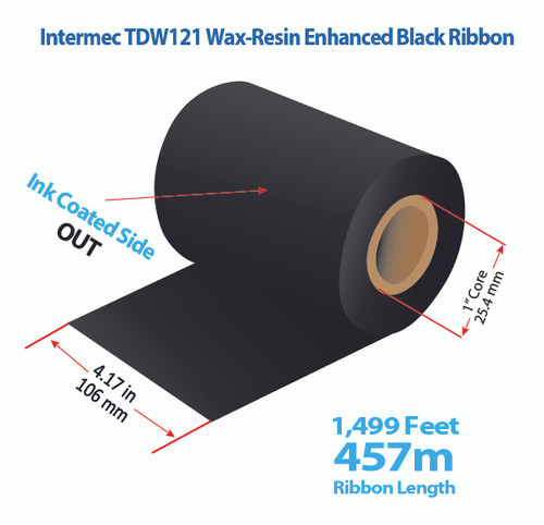 "Intermec 4400 4.17"" x 1499 feet TDW121 Wax-Resin Enhanced Ribbon with Ink OUT 
