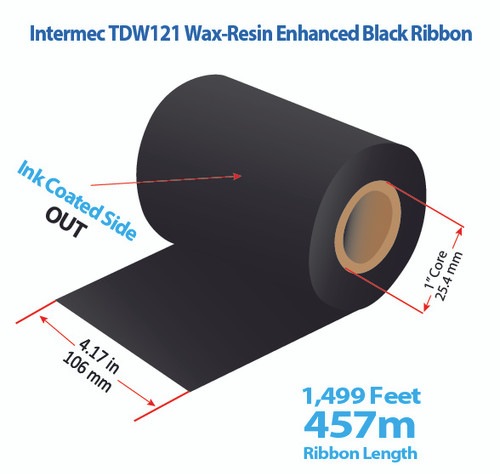 "Intermec 4420/4440 4.17"" x 1499 feet TDW121 Wax-Resin Enhanced Ribbon with Ink OUT 