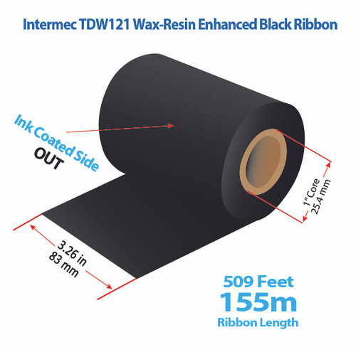 "Intermec 3400, 8646 3.26"" x 509 feet TDW121 Wax-Resin Enhanced Ribbon with Ink OUT 