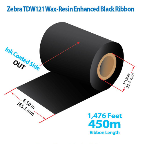 "Zebra 6.5"" x 1476 feet TDW121 Wax-Resin Enhanced Ribbon with Ink OUT 