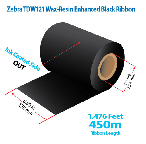 "Zebra 6.69"" x 1476 feet TDW121 Wax-Resin Enhanced Ribbon with Ink OUT 