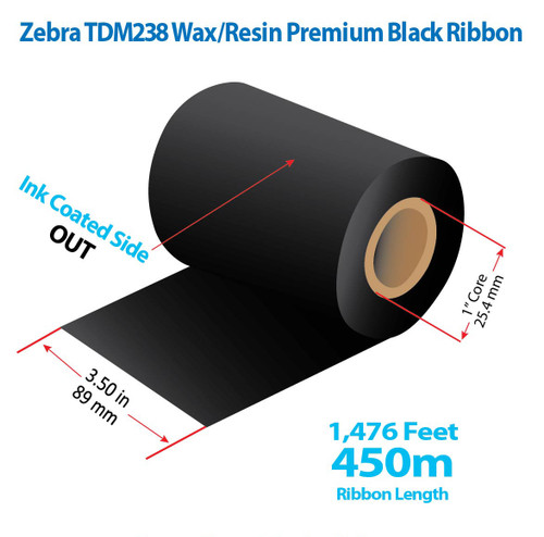 "Zebra 3.5"" x 1476 feet TDM238 Wax/Resin Premium Ribbon with Ink OUT | 24/Ctn"