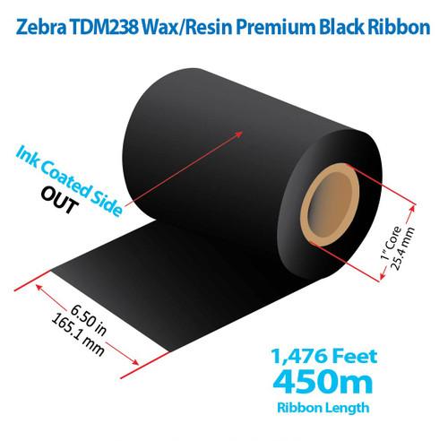 "Zebra 6.5"" x 1476 feet TDM238 Wax/Resin Premium Ribbon with Ink OUT | 12/Ctn"