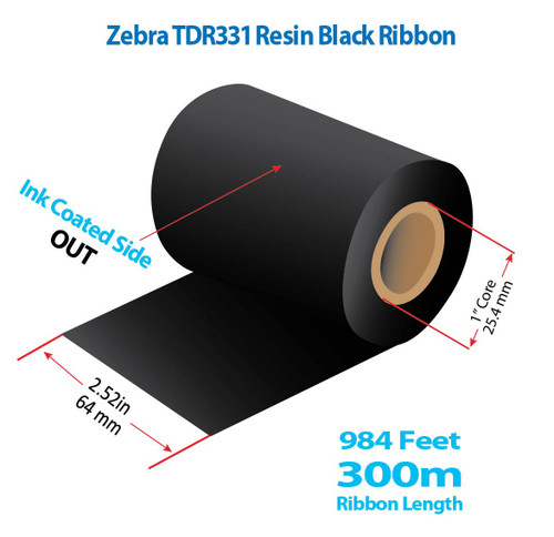 "Godex/Zebra 2.52"" x 984 feet TDR331 Resin Ribbon with Ink OUT 