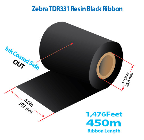 "Zebra 4"" x 1476 feet TDR331 Resin Ribbon with Ink OUT 