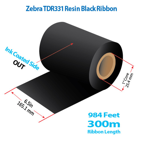 "Zebra/Godex 6.5"" x 984 feet TDR331 Resin Ribbon with Ink OUT 