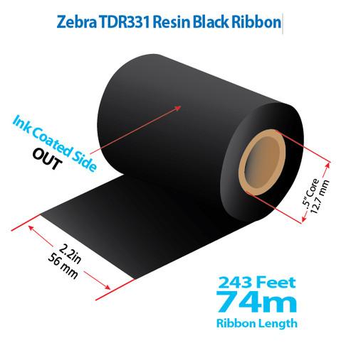 "Zebra/Godex 2.2"" x 243 feet TDR331 Resin Ribbon with Ink OUT | 12/Ctn"