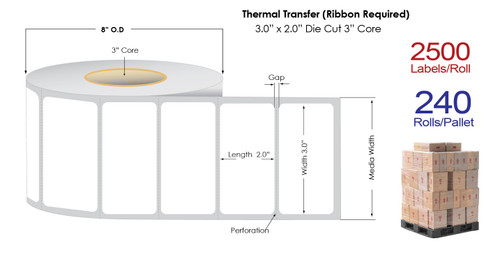 "Thermal Transfer 3"" x 2"" Matte Paper Labels 2500/Roll - 3"" Core 
