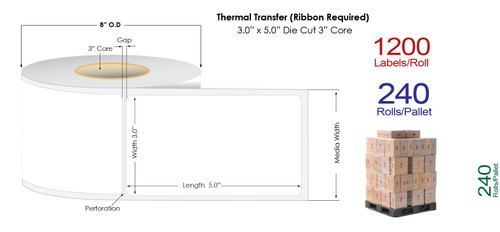"Thermal Transfer 3"" x5"" Matte Paper Labels 1200/Roll - 3"" Core 
