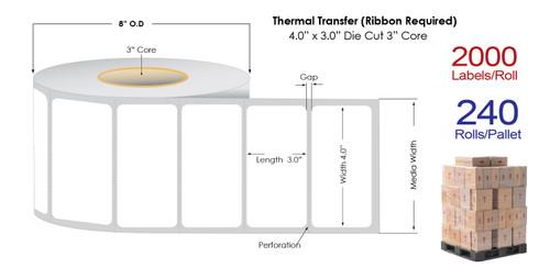 "Thermal Transfer 4"" x3"" Matte Paper Labels 2000/Roll - 3"" Core | 8"" OD / 4 Rolls/Carton"