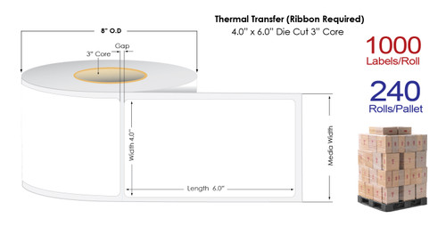 """Thermal Transfer 4"""" x 6"""" NP Matte Paper Labels 1000/Roll - 3"""" Core 