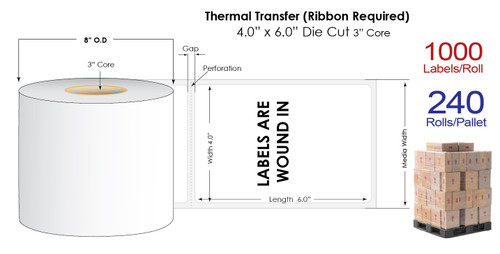 """Thermal Transfer 4"""" x 6"""" Matte Paper Labels 1000/Roll (Wound In) - 3"""" Core   8"""" OD / 4 Rolls/Carton"""