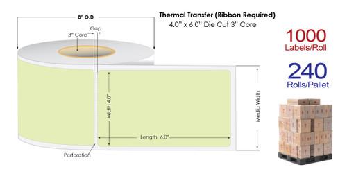 "Thermal Transfer 4"" x 6"" GREEN Matte Paper Labels 1000/Roll - 3"" Core | 8"" OD / 4 Rolls/Carton"