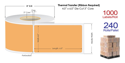 "Thermal Transfer 4"" x 6"" ORANGE Matte Paper Labels 1000/Roll - 3"" Core 