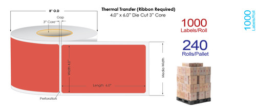 "Thermal Transfer 4"" x 6"" RED Matte Paper Labels 1000/Roll - 3"" Core 
