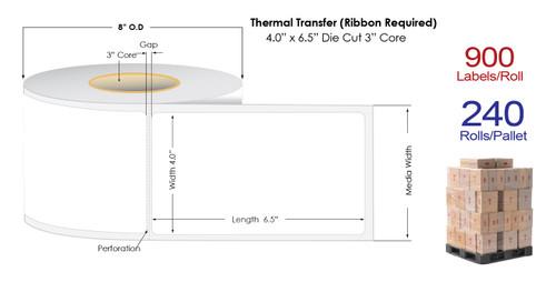 "Thermal Transfer 4"" x 6.5"" Matte Paper Labels 900/Roll - 3"" Core | 8"" OD | 4 Rolls/Carton"