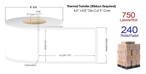 "Thermal Transfer 4"" x 8"" Matte Paper Labels 750/Roll - 3"" Core | 8"" OD | 4 Rolls/Carton"