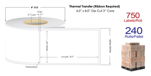 "Thermal Transfer 4"" x 8"" Matte Paper Labels 750/Roll - 3"" Core 