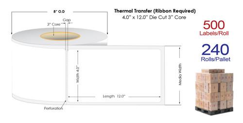 "Thermal Transfer 4"" x 12"" Matte Paper Labels 500/Roll - 3"" Core   8"" OD / 4 Rolls/Carton"