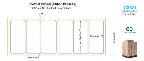 """Thermal Transfer 4"""" x 2"""" Matte Paper Labels 10,000 Fanfolded/Carton"""