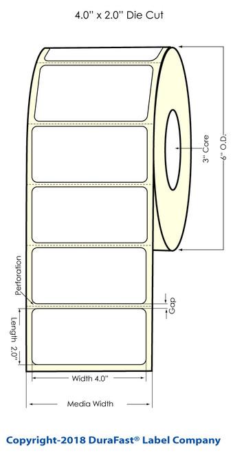 "LX900 4"" x 2"" Blossy BOPP Inkjet Labels 1100/Roll (75993G)"