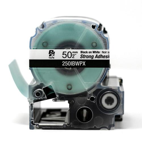 "Epson/K-Sun Z-Series 50MM 2"" X 26.2' BLACK ON WHITE PET TAPE STRONG ADHESIVE 8M"