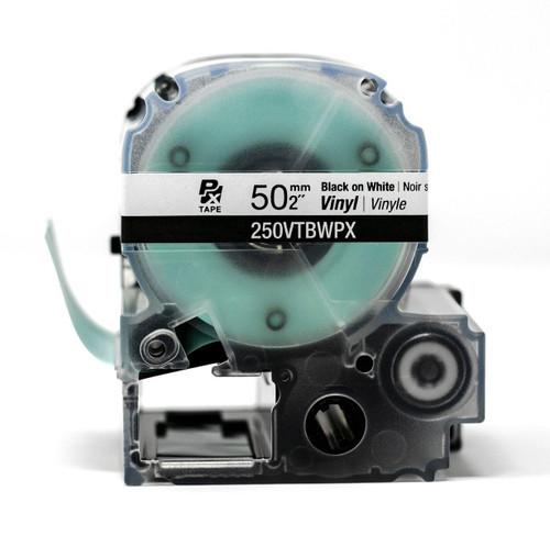 """Epson/K-Sun Z-Series 50MM 2"""" X 22.9' BLACK ON WHITE VINYL TAPE 7M"""