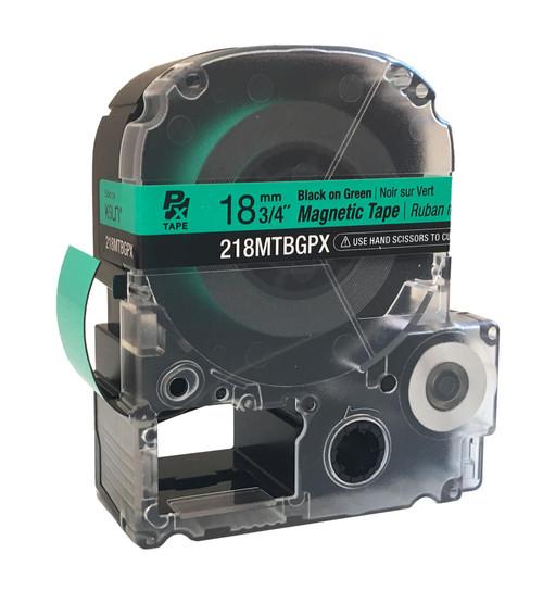 "Epson/K-SUN 218MTBGPX-4.9 BLK ON GRN PX Label Tape 3/4""/18MM Magnet Tape"