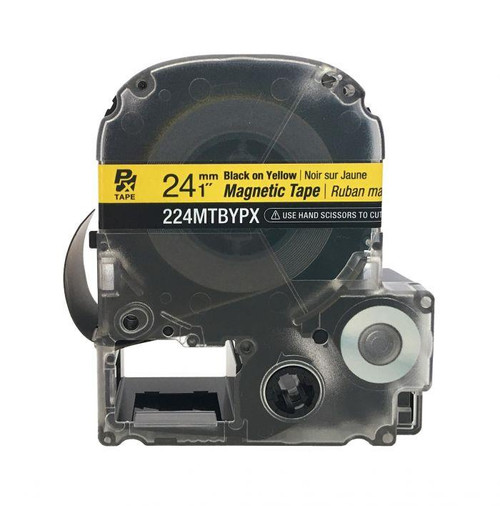 "Epson/K-SUN 224MTBYPX-4.9 BLK ON YLW PX Label Tape 1""/24MM Magnet Tape"
