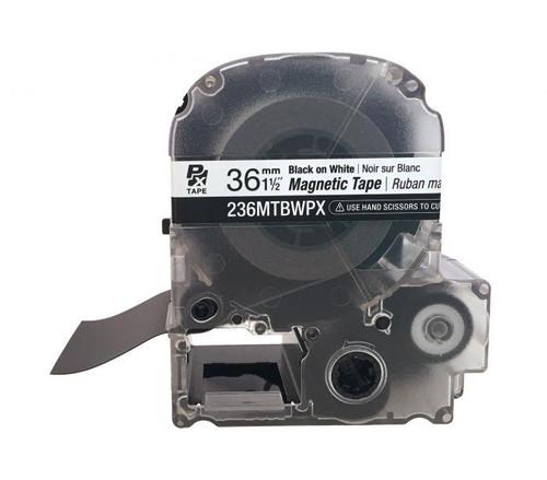 "Epson/K-SUN 236MTBWPX-4.9 BLK ON WHT PX Label Tape 1-1/2""/36MM Magnet Tape"