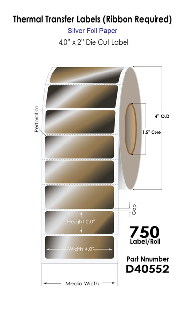 """Thermal Transfer 4"""" x 2"""" Silver Foil Paper Label Roll (40552)"""