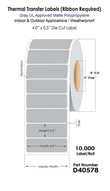 "Thermal Transfer 4"" x 0.5"" Gray Polypropylene UL Light Fixture Label Roll (40578)"