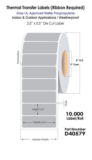 "Thermal Transfer 2"" x 0.5"" Gray Polypropylene UL Light Fixture Label Roll (40579)"