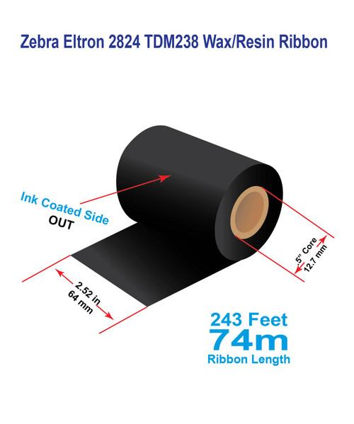 "Zebra Eltron 2824 2.52"" x 243 feet TDM238 Wax/Resin Ribbon with Ink OUT | 12/Ctn (39248)"
